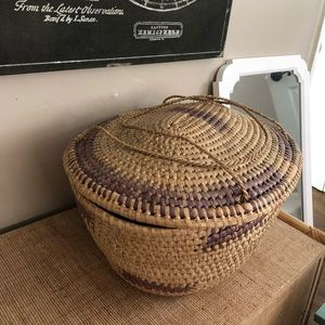 Large boho woven basket with top